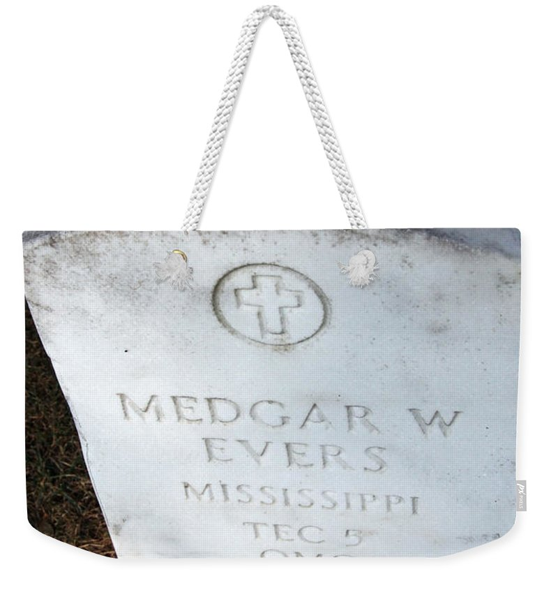 Black Weekender Tote Bag featuring the photograph Medgar Evers -- An Assassinated Veteran by Cora Wandel