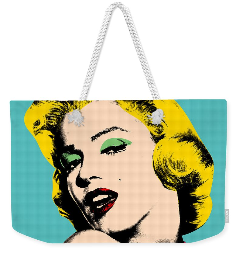 Pop Art Weekender Tote Bag featuring the digital art Andy Warhol by Mark Ashkenazi