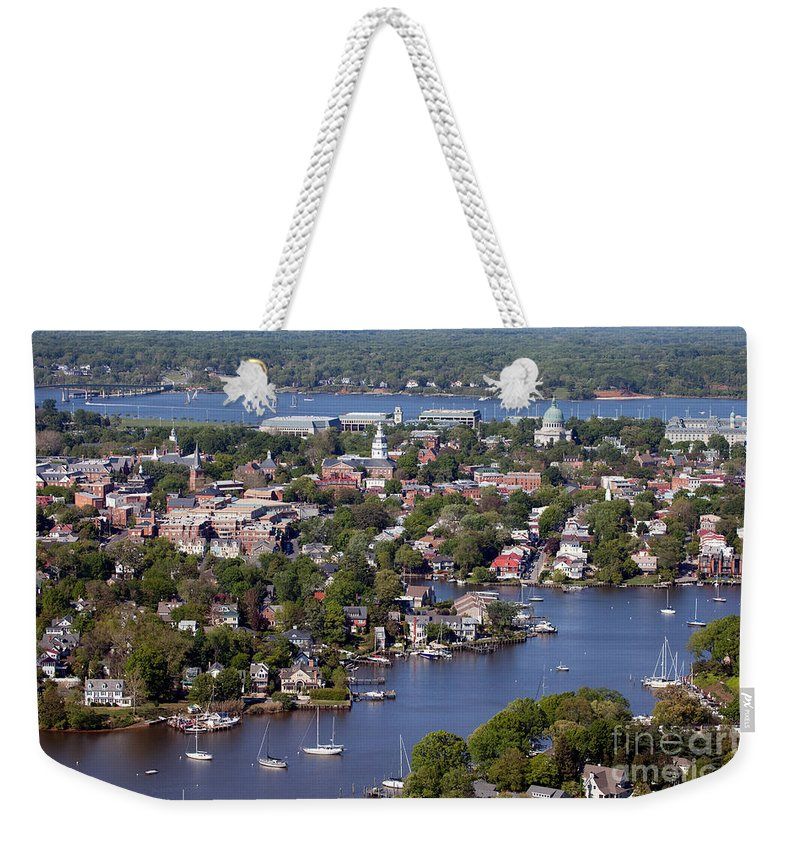 Aerial Weekender Tote Bag featuring the photograph Annapolis by Bill Cobb