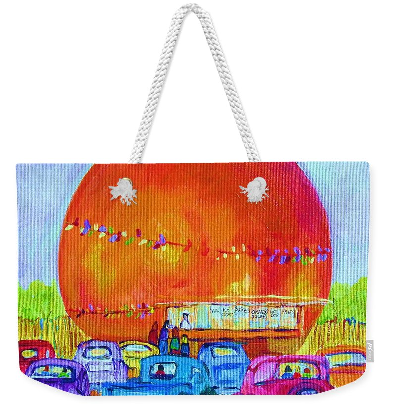 Cars Weekender Tote Bag featuring the painting Antique Cars At The Julep by Carole Spandau