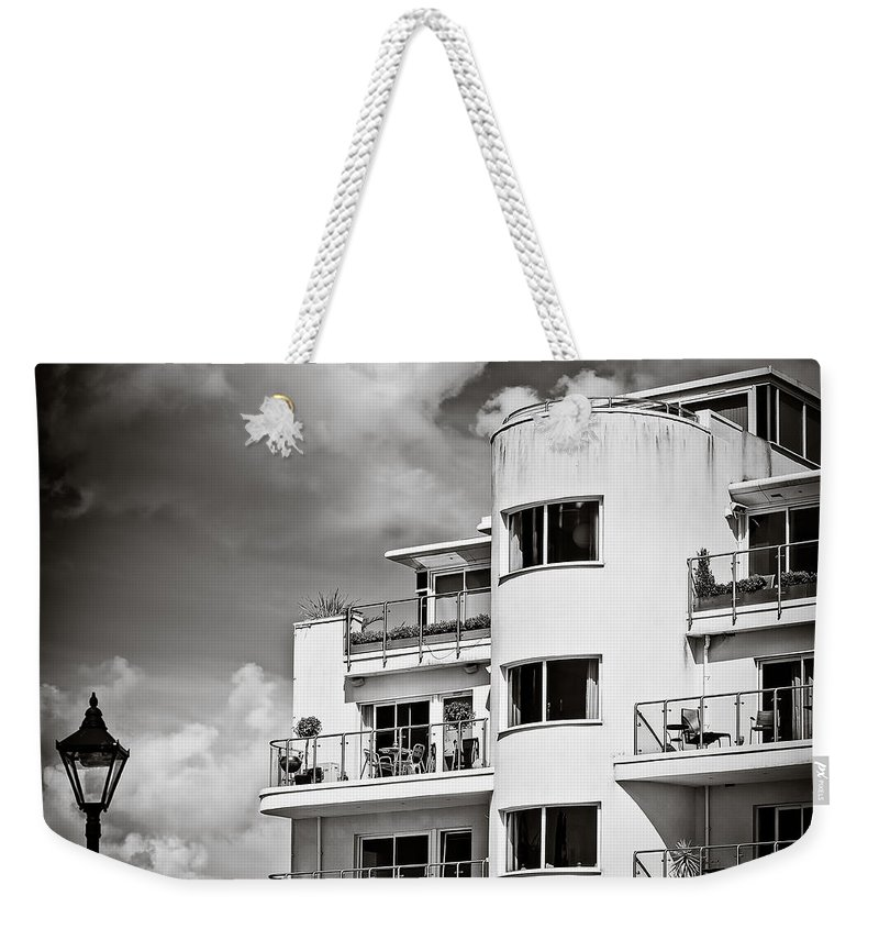 20s Weekender Tote Bag featuring the photograph Art Deco Apartments by Mark Llewellyn