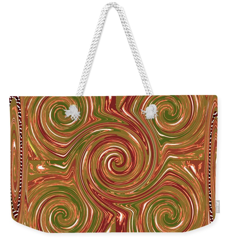 Texture Weekender Tote Bag featuring the mixed media Artistic Embossed Twirl Decoration Chakra Style Unique Signature Navinjoshi Artist Created Images Te by Navin Joshi