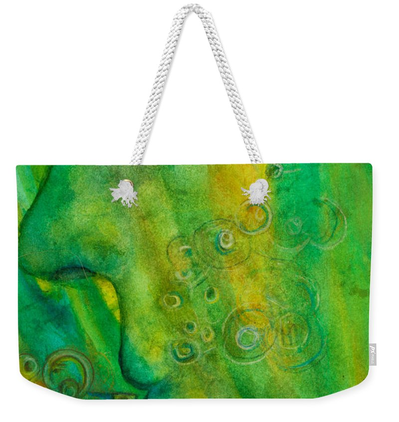 Portrait Weekender Tote Bag featuring the painting As He Walks He Breathes In The Trees by Suzy Norris