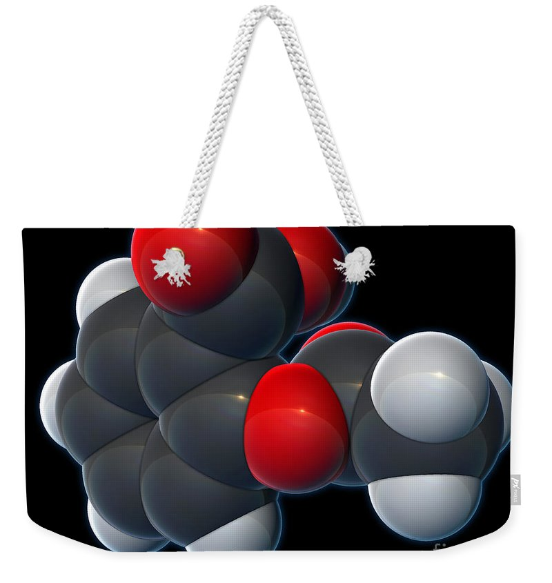 3d Illustration Weekender Tote Bag featuring the photograph Aspirin, Molecular Model by Evan Oto