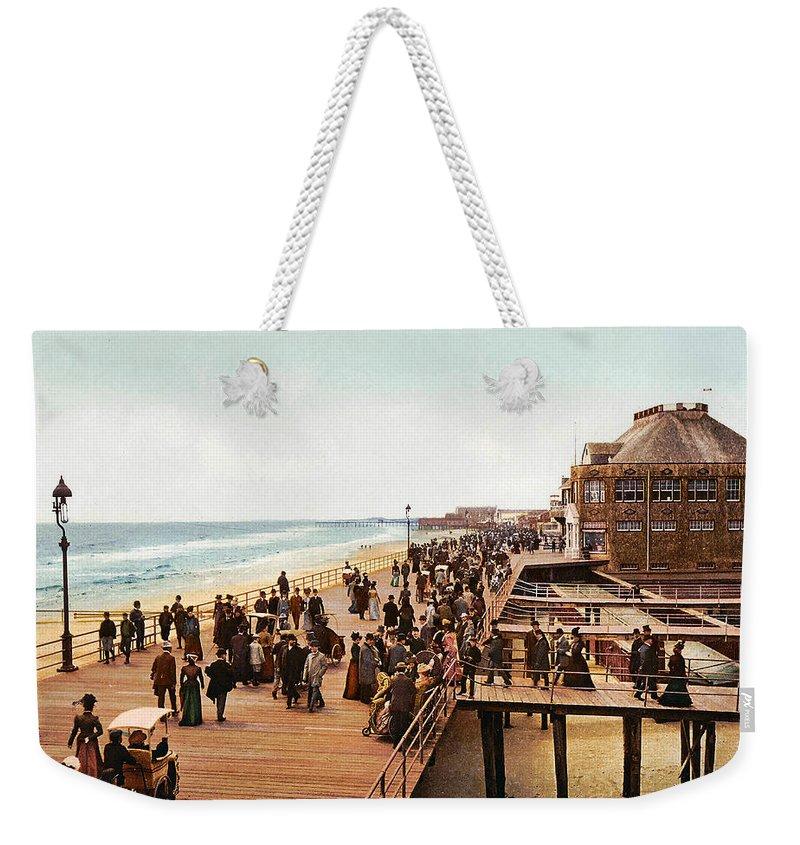 Atlantic City Boardwalk 1900 Weekender Tote Bag featuring the digital art Atlantic City Boardwalk 1900 by Unknown
