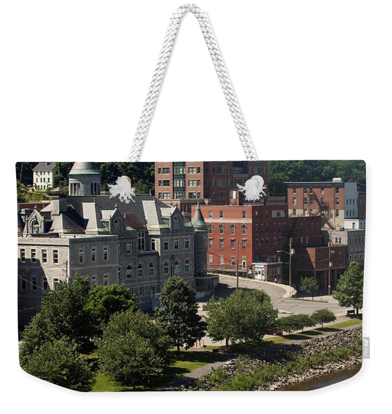 Kennebec River Weekender Tote Bag featuring the photograph Augusta Skyline by Bill Cobb