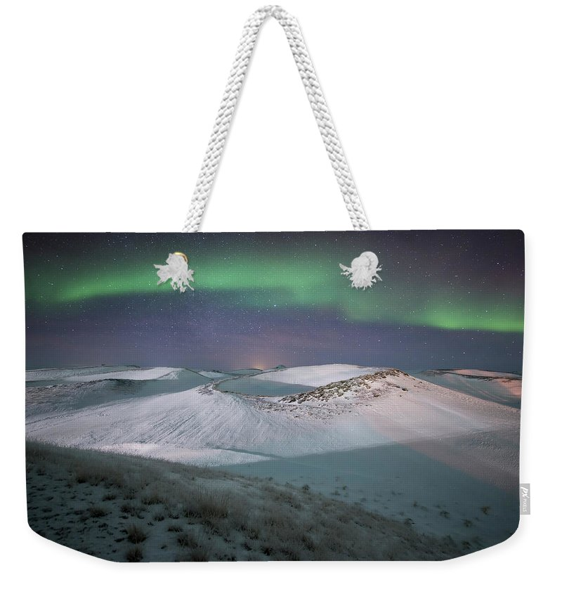 Scenics Weekender Tote Bag featuring the photograph Aurora, Myvatn, Iceland by David Clapp
