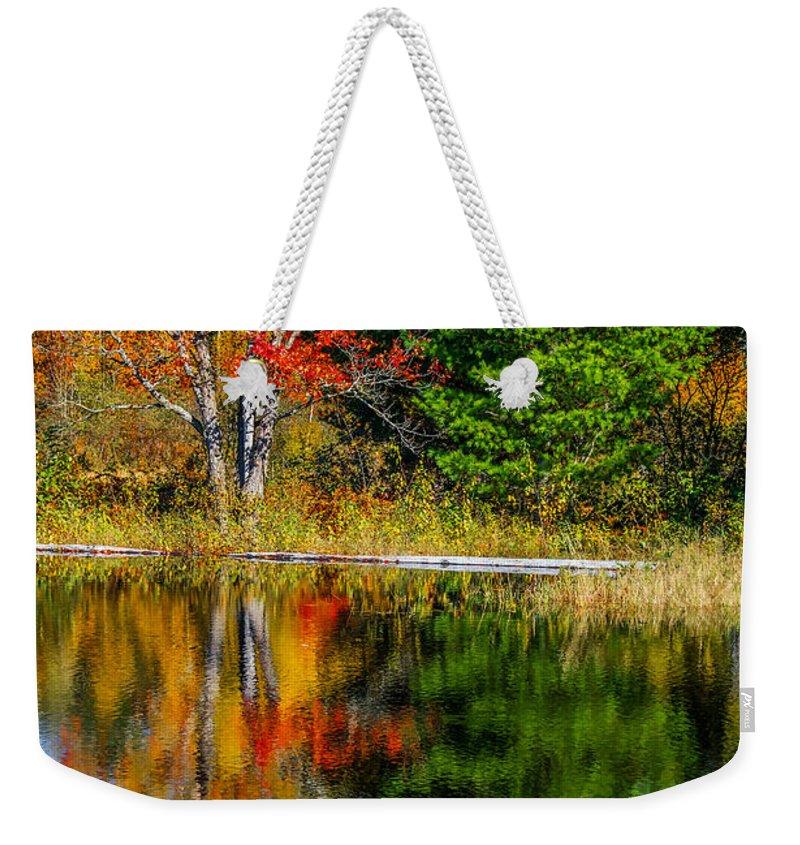 Steve Harrington Weekender Tote Bag featuring the photograph Autumn Lake by Steve Harrington