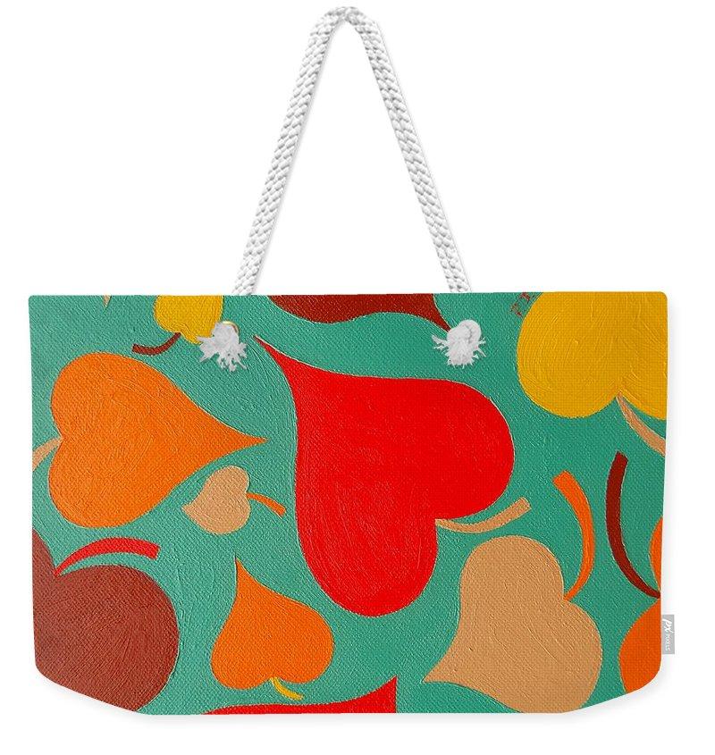 Seasons Weekender Tote Bag featuring the painting Autumn Leaves by Patrick J Murphy