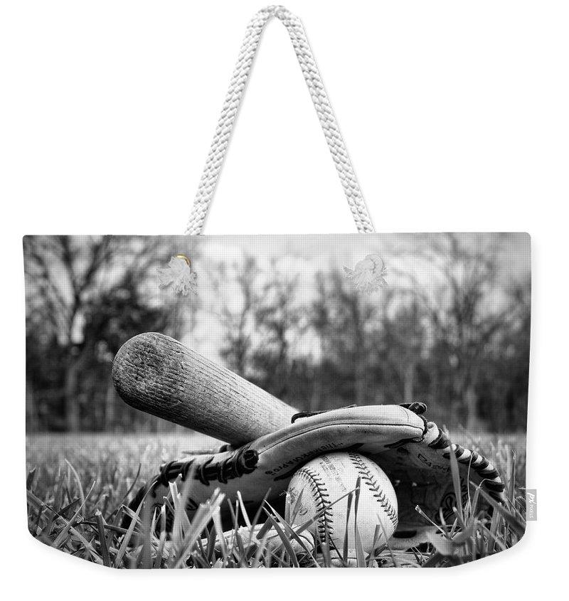 Baseball Weekender Tote Bag featuring the photograph Backyard Baseball Memories by Cricket Hackmann