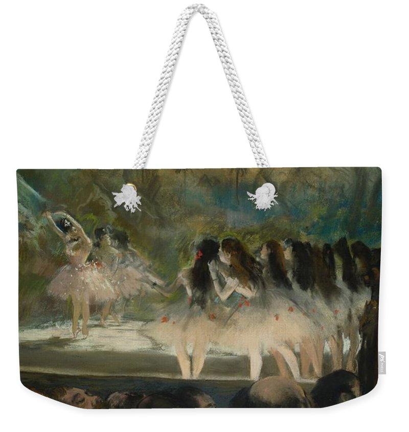 Edgar Degas Weekender Tote Bag featuring the painting Ballet At The Paris Opera by Edgar Degas