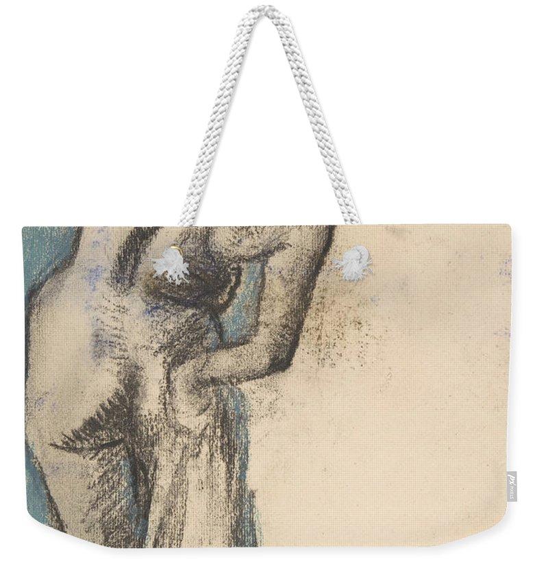 Edgar Degas Weekender Tote Bag featuring the drawing Bather Drying Herself by Edgar Degas