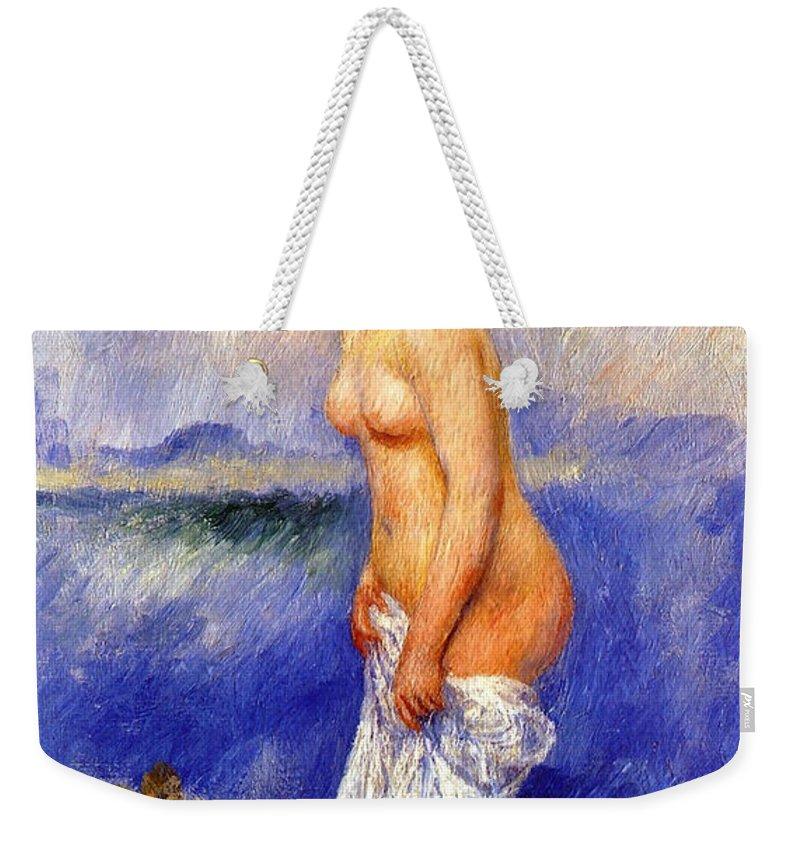 Pierre-auguste Renoir Weekender Tote Bag featuring the digital art Bather by Pierre-Auguste Renoir
