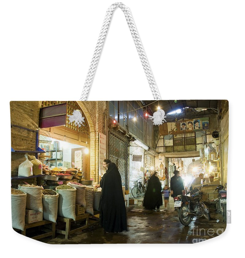 Isfahan Weekender Tote Bag featuring the photograph Bazaar Market In Isfahan Iran by Jacek Malipan