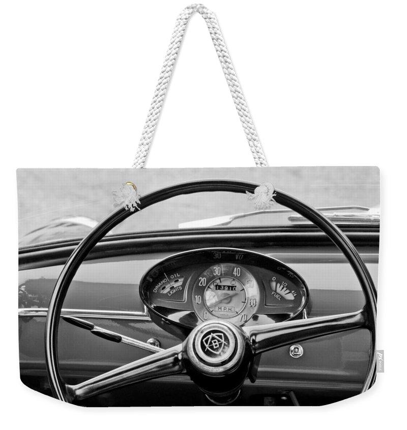 Bianchina Steering Wheel Weekender Tote Bag featuring the photograph Bianchina Steering Wheel by Jill Reger