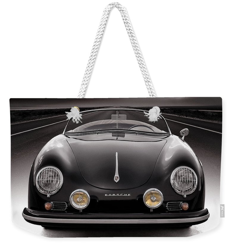 Porsche Weekender Tote Bag featuring the photograph Black Porsche Speedster by Douglas Pittman