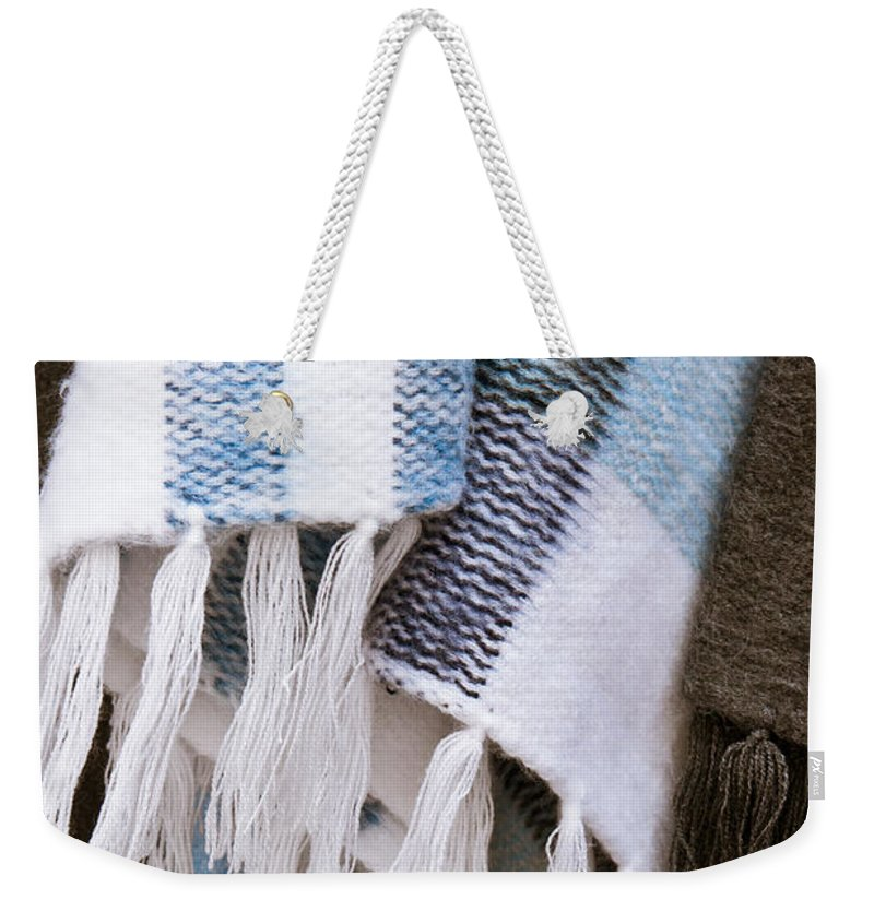 Black White Weekender Tote Bag featuring the photograph Blanket by Tom Gowanlock