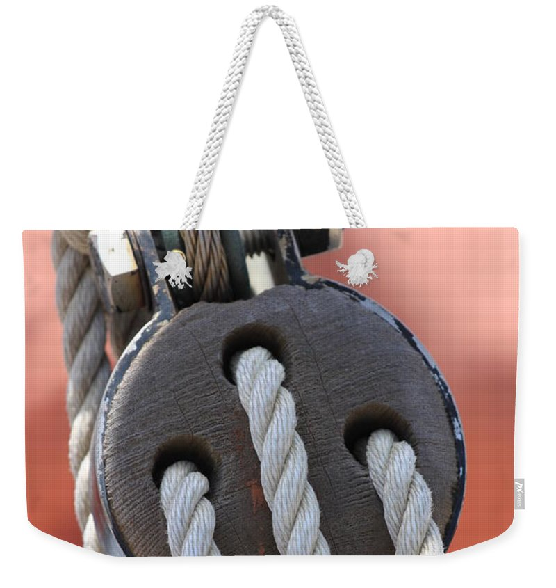 Boat Weekender Tote Bag featuring the photograph Block And Tackle by Henrik Lehnerer