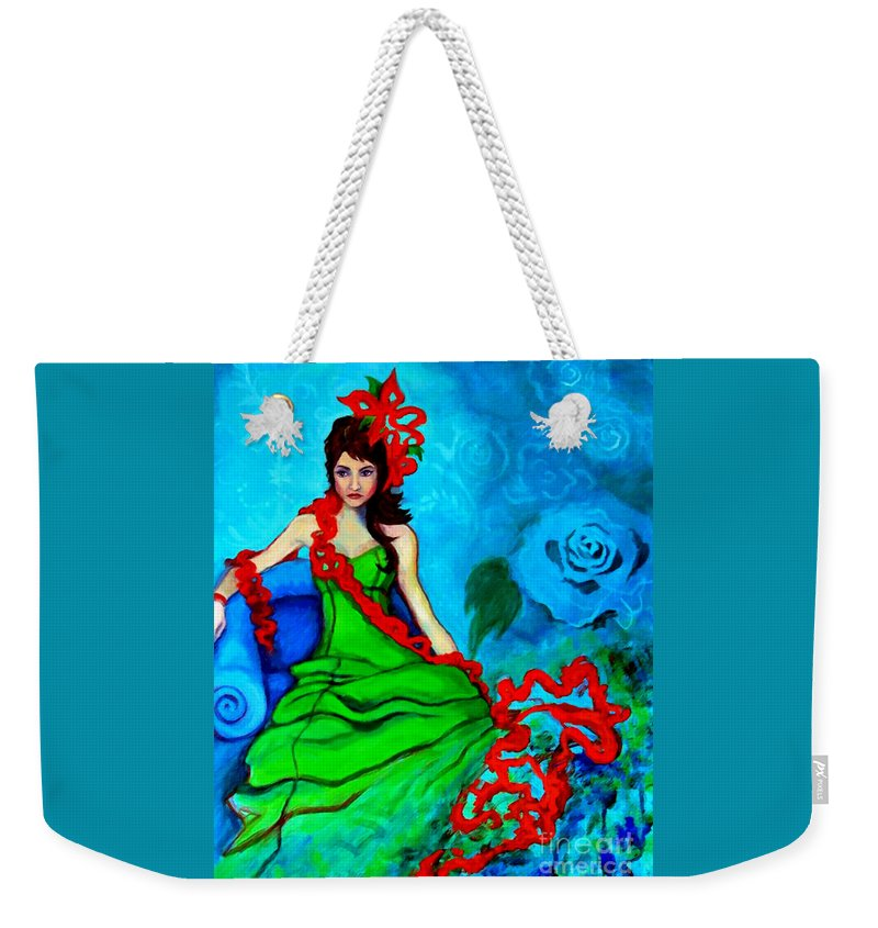 Woman Weekender Tote Bag featuring the painting Blue Compliments by Angelique Bowman