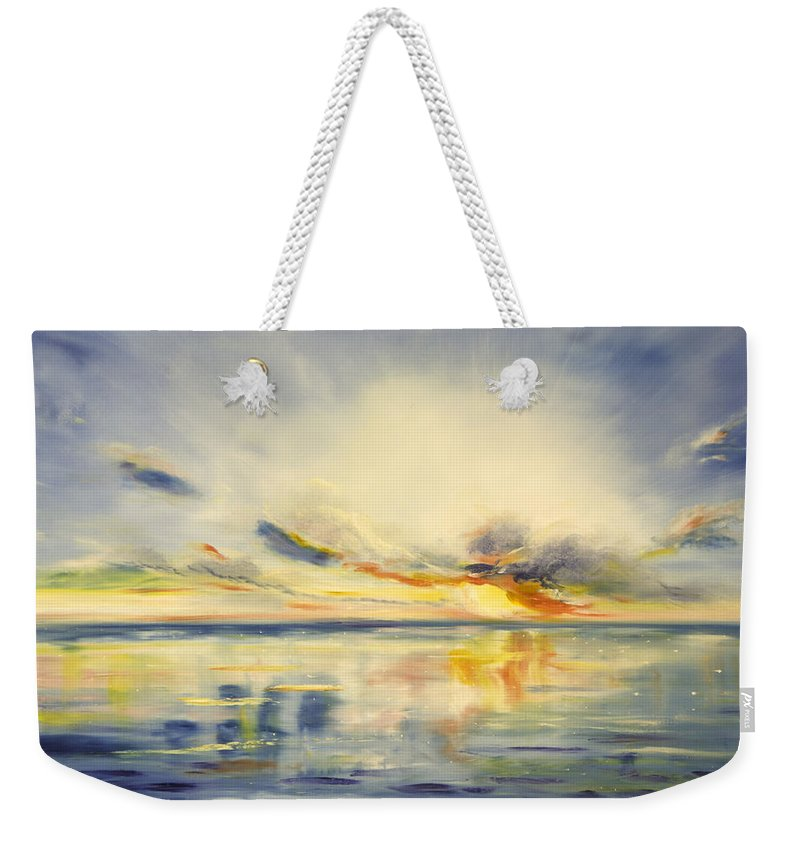 Blue Weekender Tote Bag featuring the painting Blue Sunset by Gina De Gorna