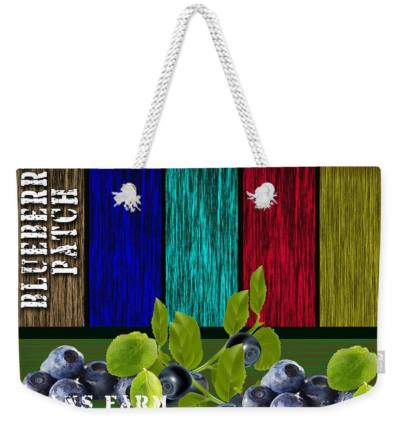 Blueberries Photographs Mixed Media Weekender Tote Bag featuring the mixed media Blueberry Patch by Marvin Blaine