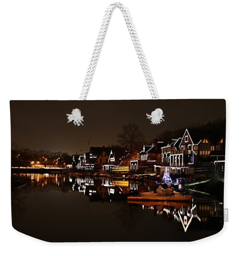 Boathouse Weekender Tote Bag featuring the photograph Boathouse Row Lights by Bill Cannon