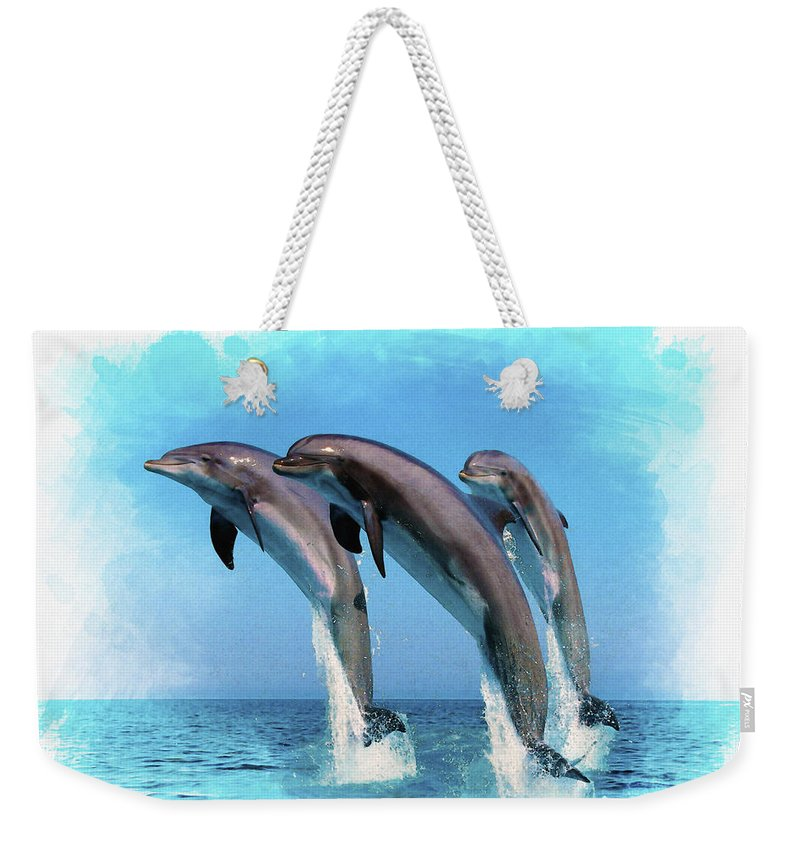 Bottlenose Dolphin Weekender Tote Bag featuring the digital art Bottlenose Dolphin by Don Kuing