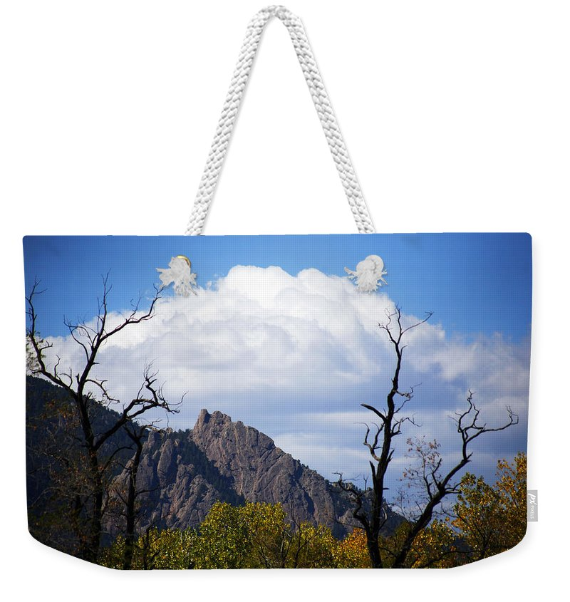 Boulder Weekender Tote Bag featuring the photograph Boulder Flatirons 1 by Marilyn Hunt
