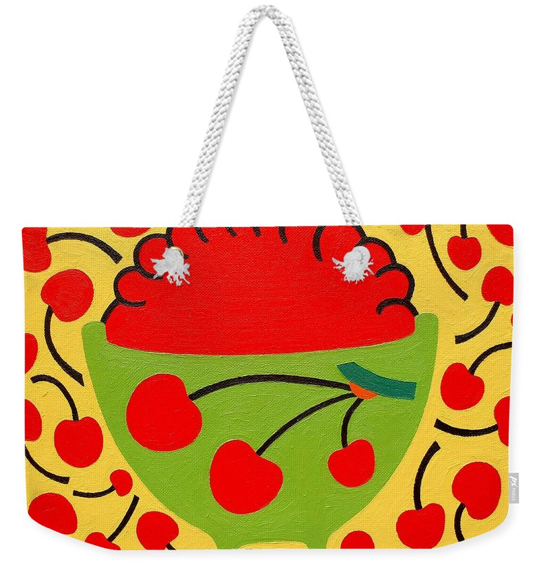 Bowl Of Cherries Weekender Tote Bag featuring the painting Bowl Of Cherries by Patrick J Murphy