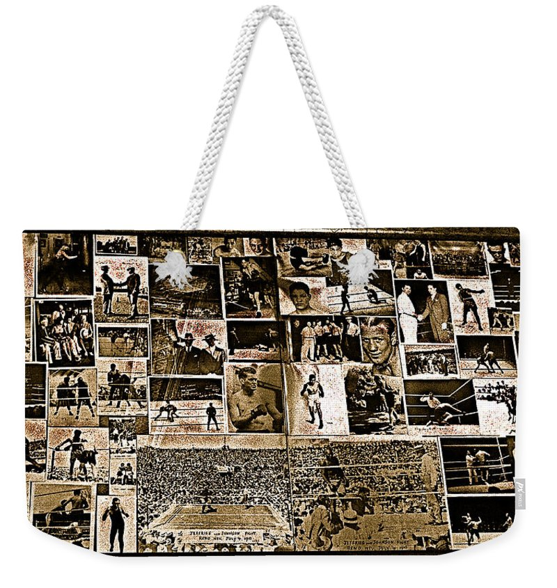 Boxing Collage Virginian Hotel Saloon Medicine Bow Wyoming 1971-2008 Sepia Toned Weekender Tote Bag featuring the photograph Boxing Collage Virginian Hotel Saloon Medicine Bow Wyoming 1971-2008 Sepia Toned by David Lee Guss