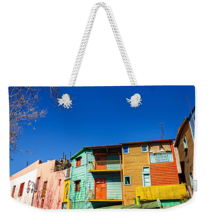 Argentina Weekender Tote Bag featuring the photograph Bright Colors In Buenos Aires by Jess Kraft