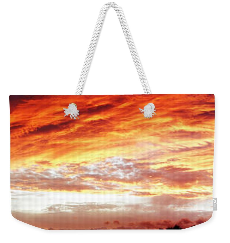 Clouds Weekender Tote Bag featuring the photograph Bright Summer Sky by Les Cunliffe