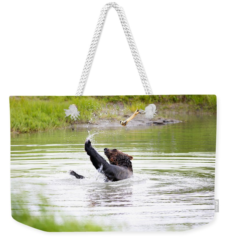 Animal Weekender Tote Bag featuring the photograph Brown Bear Playing With A Bone by Paul Fell