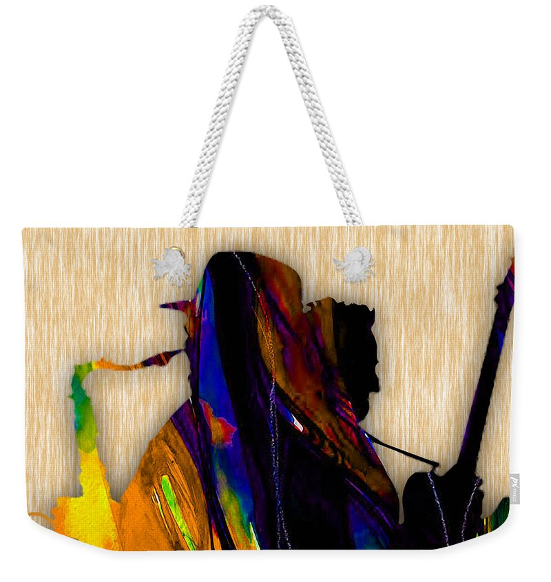 Bruce Springsteen Art Weekender Tote Bag featuring the mixed media Bruce Springsteen and Clarence Clemons by Marvin Blaine