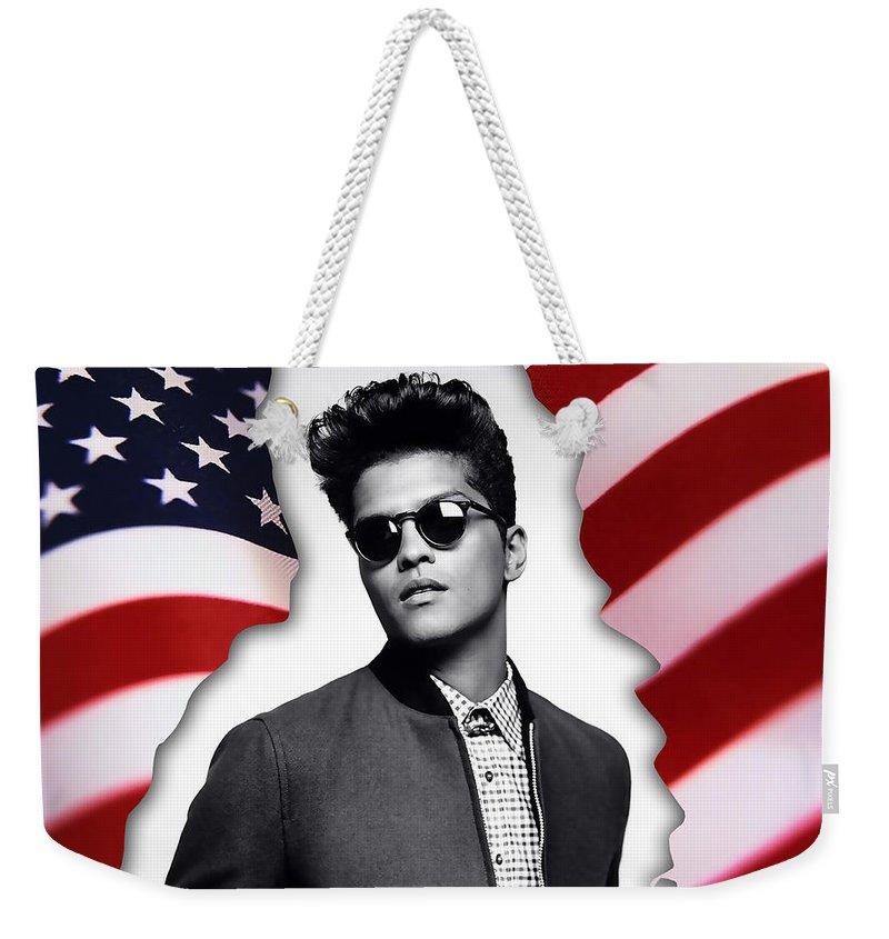 Bruno Mars Digital Art Weekender Tote Bag featuring the mixed media Bruno Mars by Marvin Blaine