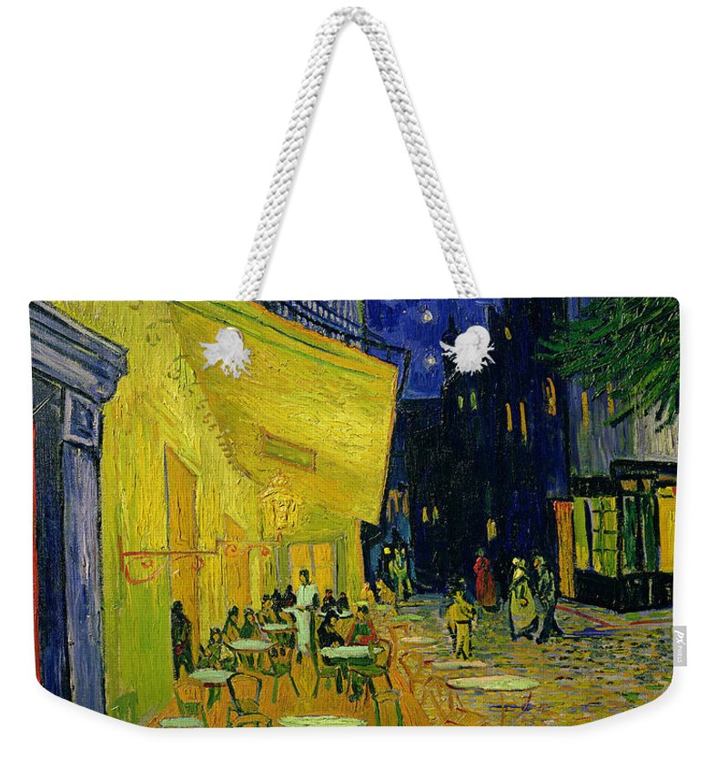 Cafe Terrace Weekender Tote Bag featuring the painting Cafe Terrace Arles by Vincent van Gogh