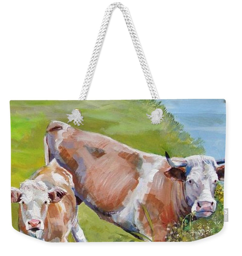 Calf Weekender Tote Bag featuring the painting Cow And Calf by Mike Jory