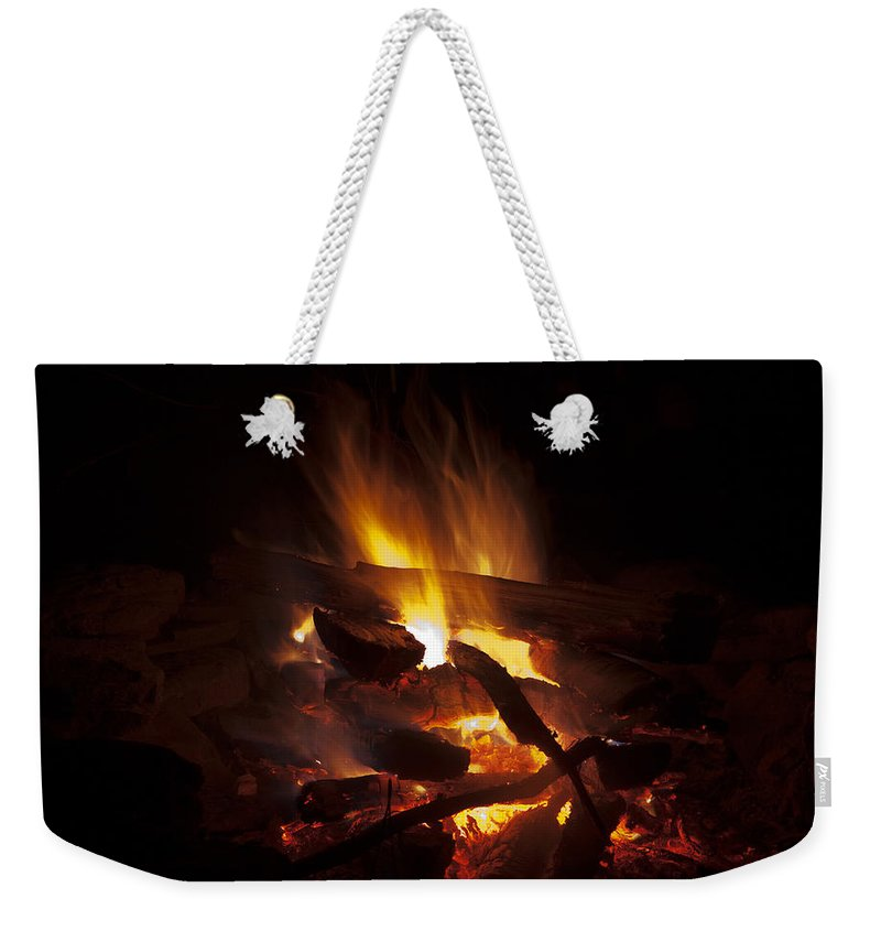 Campfire Weekender Tote Bag featuring the photograph Campfire by John Stephens