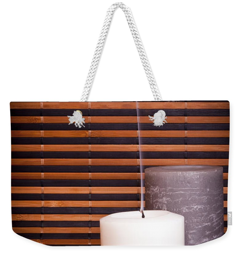 Bamboo Weekender Tote Bag featuring the photograph Candles And Bamboo by Tim Hester