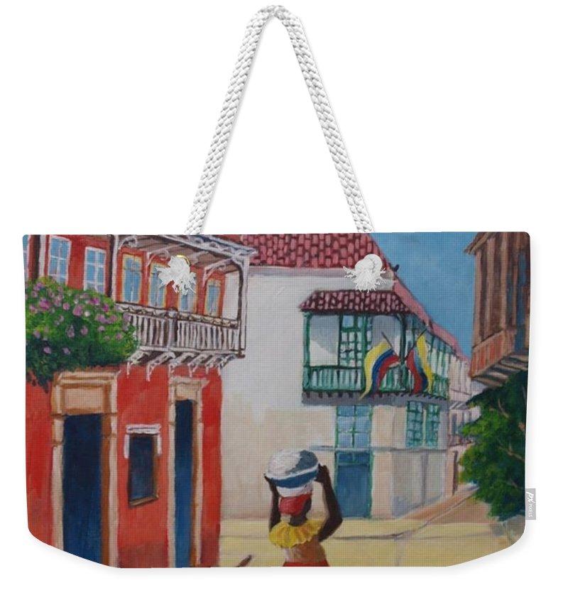 Creole Seller Weekender Tote Bag featuring the painting Cartagena Seller by Jean Pierre Bergoeing