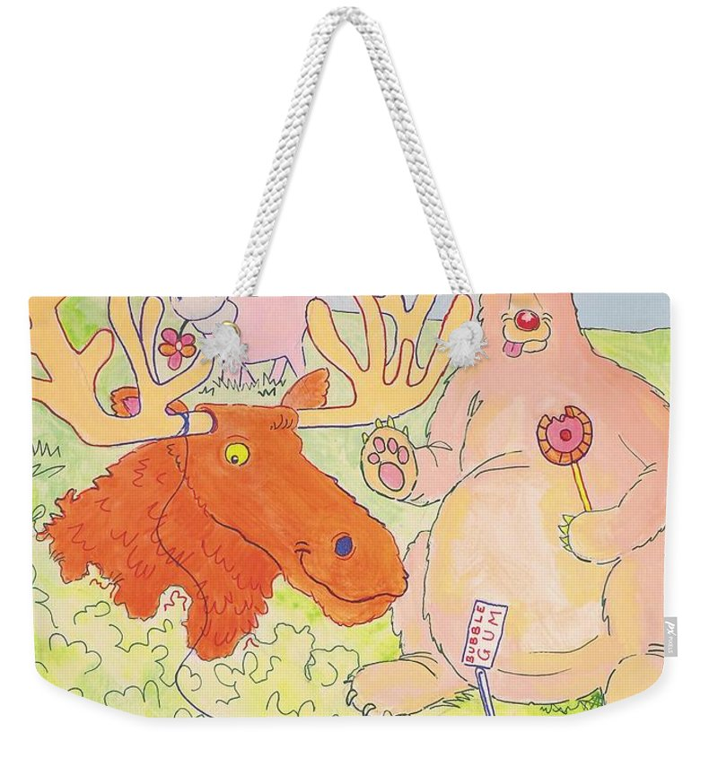 Moose Weekender Tote Bag featuring the painting Cartoon Animals by Mike Jory