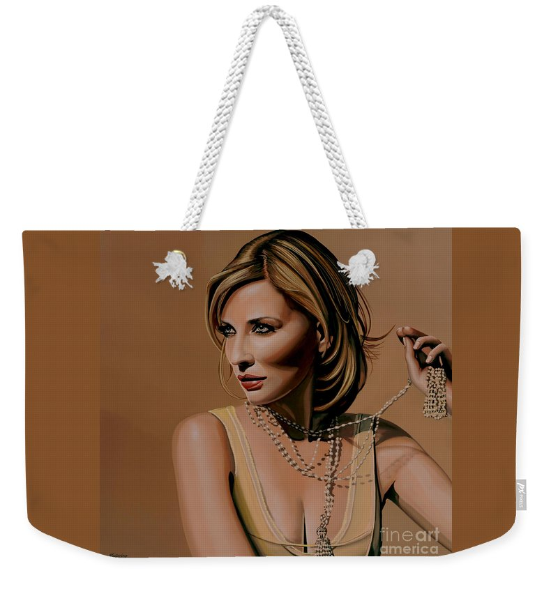 Cate Blanchett Weekender Tote Bag featuring the painting Cate Blanchett Painting by Paul Meijering