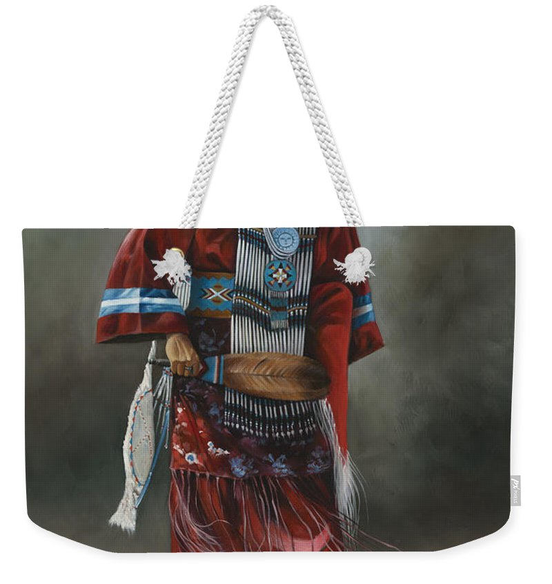 Native-american Weekender Tote Bag featuring the painting Ceremonial Red by Ricardo Chavez-Mendez
