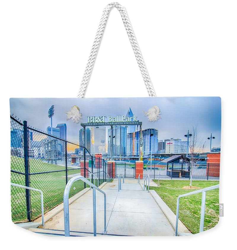 2014 Weekender Tote Bag featuring the photograph Charlotte Ballpark by Alex Grichenko