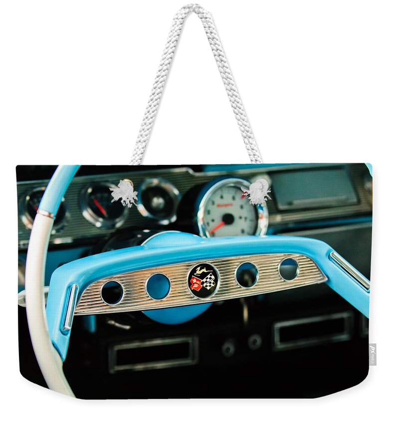 Chevrolet Impala Steering Wheel Emblem Weekender Tote Bag featuring the photograph Chevrolet Impala Steering Wheel Emblem by Jill Reger
