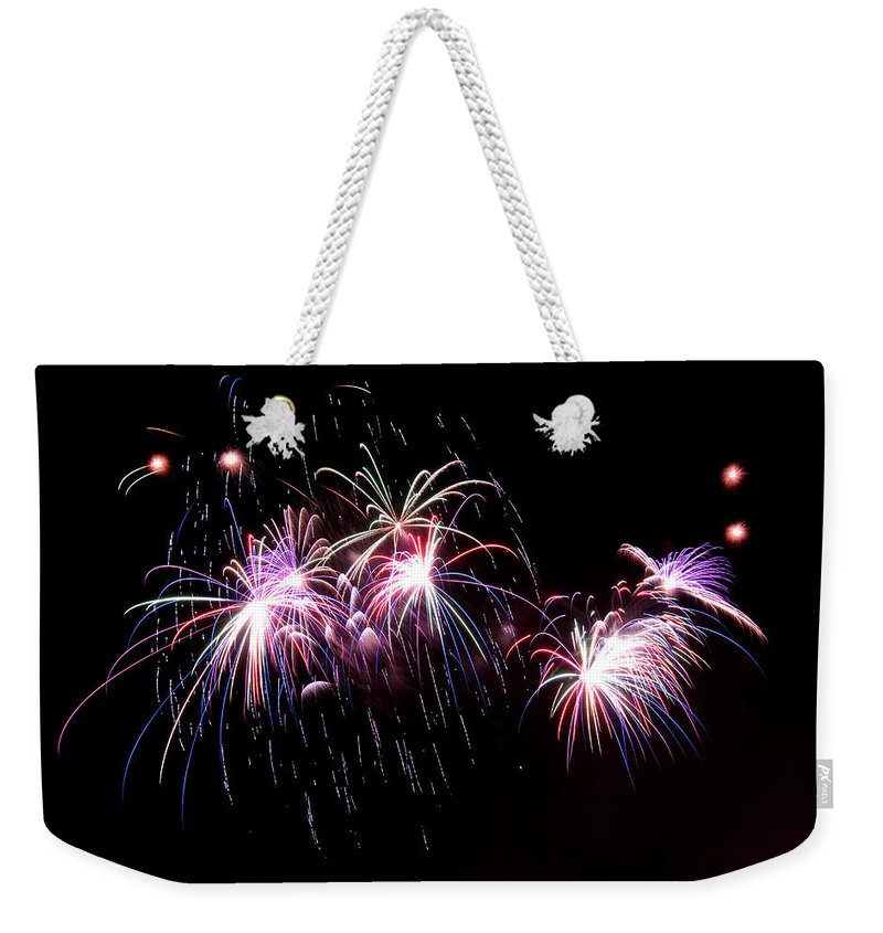 Firework Display Weekender Tote Bag featuring the photograph Chicago Fireworks by 400tmax