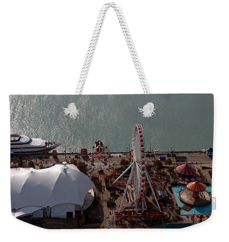 Chicago Weekender Tote Bag featuring the photograph Chicago Navy Pier by Thomas Woolworth