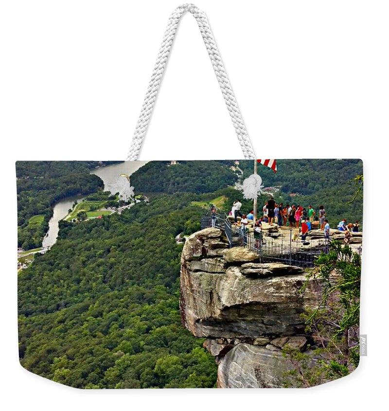 Colors Weekender Tote Bag featuring the photograph Chimney Rock Overlook by Alex Grichenko