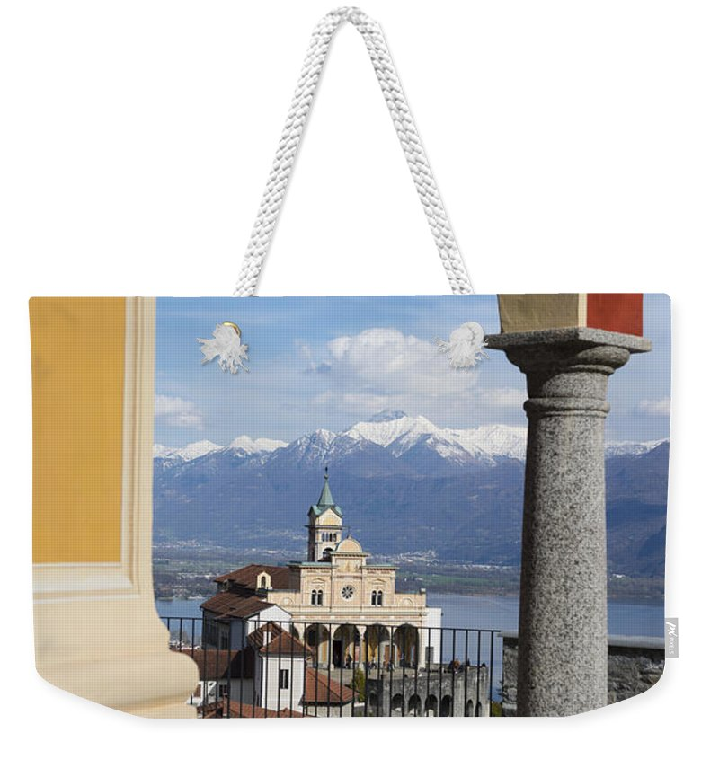 Church Weekender Tote Bag featuring the photograph Church Madonna Del Sasso by Mats Silvan
