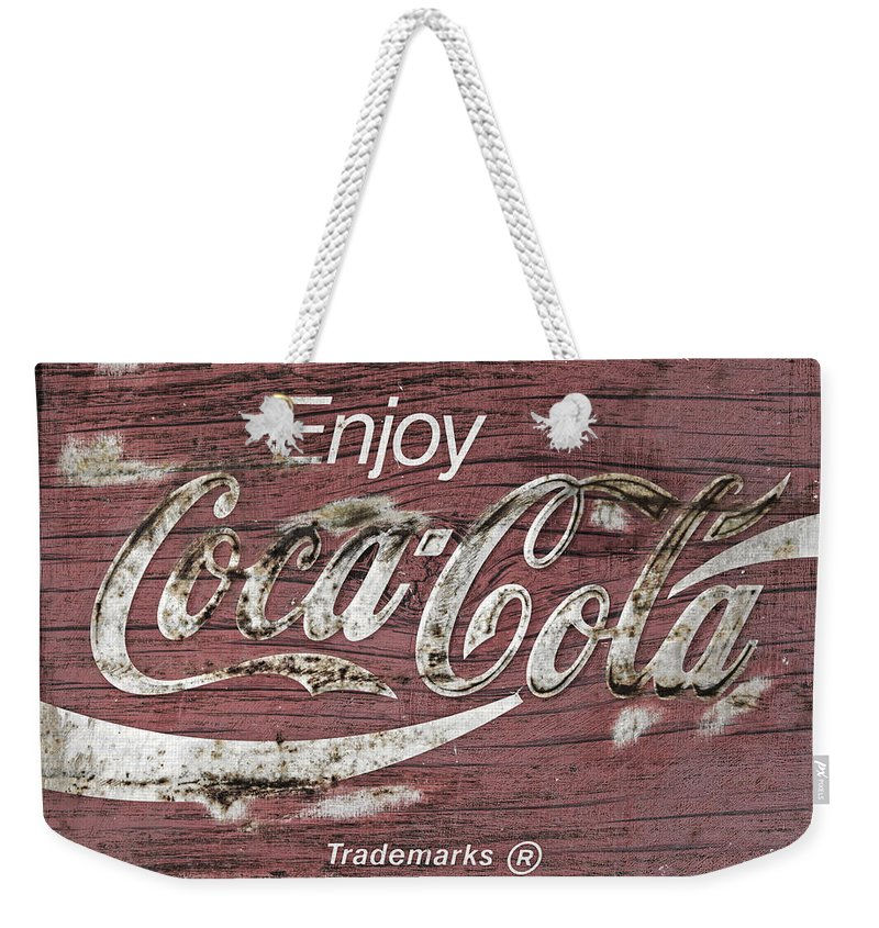 Coca Cola Weekender Tote Bag featuring the photograph Coca Cola Pink Grunge Sign by John Stephens